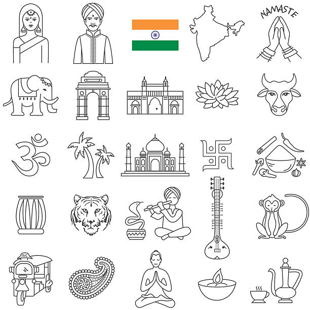 indian icon set - カレー点のイラスト素材/クリップアート素材/マンガ素材/アイコン素材