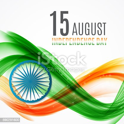 Indian Independence Day Background With Waves And Ashoka Wheel-vektorgrafik och fler bilder på Abstrakt 590291600