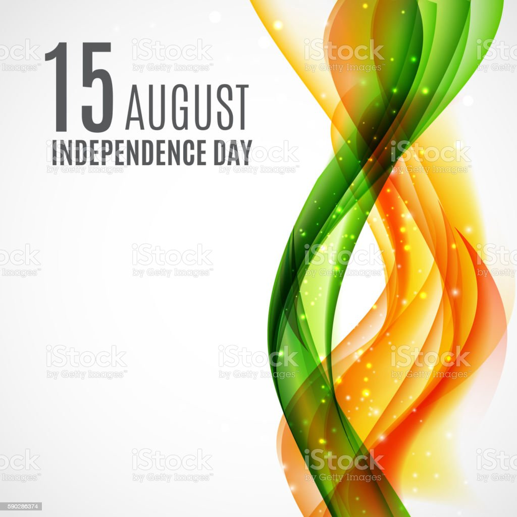 Indian Independence Day Background with Waves and Ashoka Wheel. Vector vector art illustration