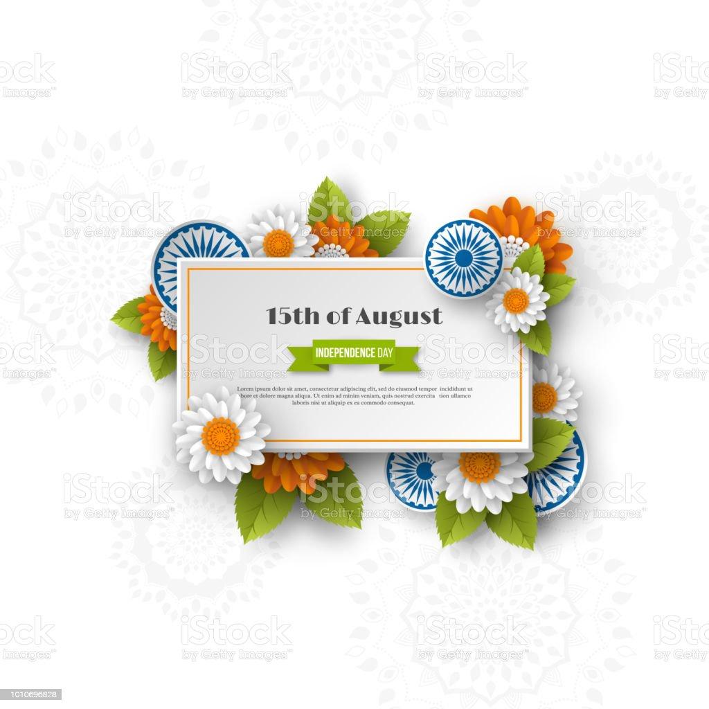 Hint bağımsızlık günü afiş. 3D araba Hint bayrağı geleneksel üç renkli çiçeklerle. Kağıdı tarzı kesin. Arka plan beyaz, illüstrasyon vektör. vektör sanat illüstrasyonu