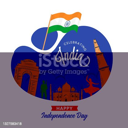 istock Indian Independence Day celebrations background with waving flag, India Gate, Qutub Minar, Taj Mahal, Indian Famous Monuments. 1327583418