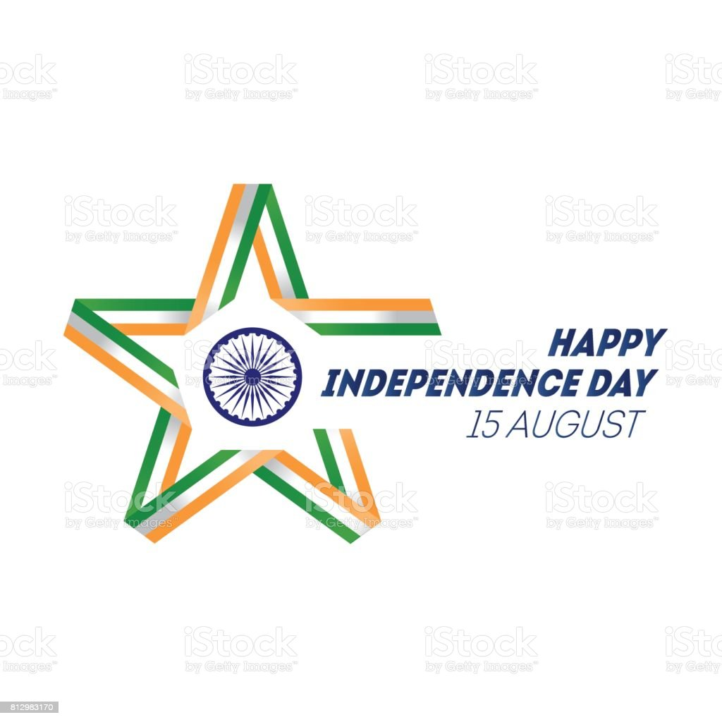Indian Independence Day concept background with Ashoka wheel. Vector Illustration. Star made of ribbon in national flag colors and symbols. vector art illustration