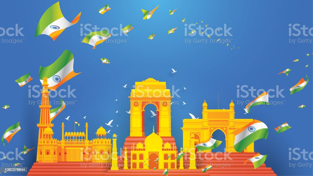 Indian Independence Day Design For Background Or Banner Or Greeting