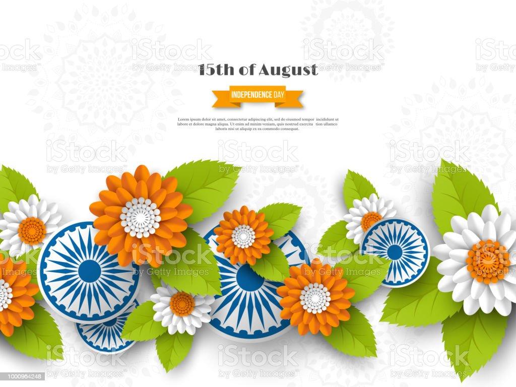 Hint bağımsızlık günü tatil tasarım. 3D tekerlekler, Hint, geleneksel üç renkli yapraklarda çiçeklerle bayrak. Kağıdı tarzı kesin. Arka plan beyaz, illüstrasyon vektör. vektör sanat illüstrasyonu