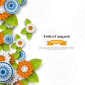 Indian Independence day holiday design. 3d wheels, flowers with leaves in traditional tricolor of indian flag. Paper cut style. White background. Vector illustration.