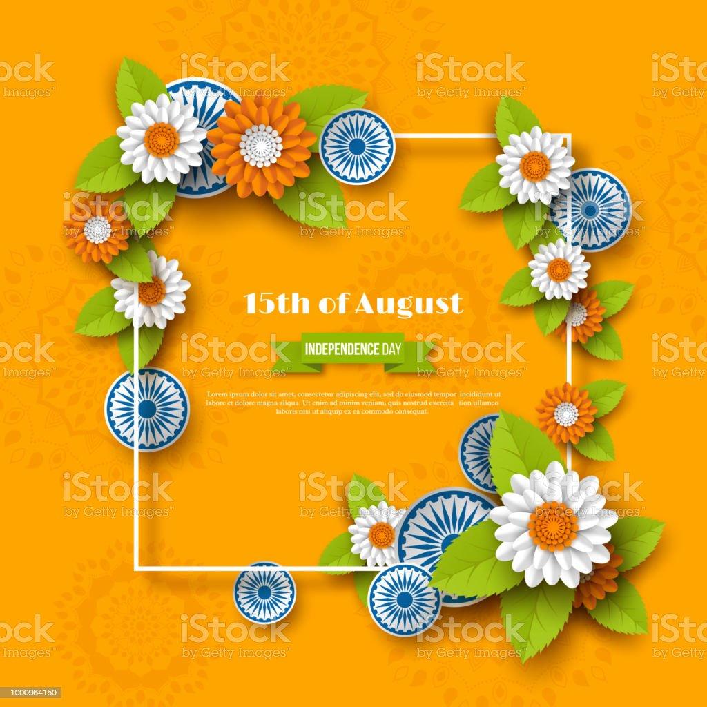 Hint bağımsızlık günü tatil tasarım. 3D tekerlekler, çerçeve ve Hint bayrağı geleneksel üç renkli çiçeklenir. Kağıdı tarzı kesin. Turuncu arka plan, vektör çizim. vektör sanat illüstrasyonu