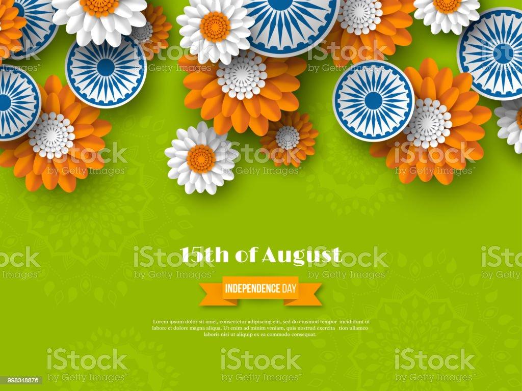 Hint bağımsızlık günü tatil tasarım. 3D araba Hint bayrağı geleneksel üç renkli çiçeklerle. Kağıdı tarzı kesin. Yeşil arka plan. Vektör çizim. vektör sanat illüstrasyonu