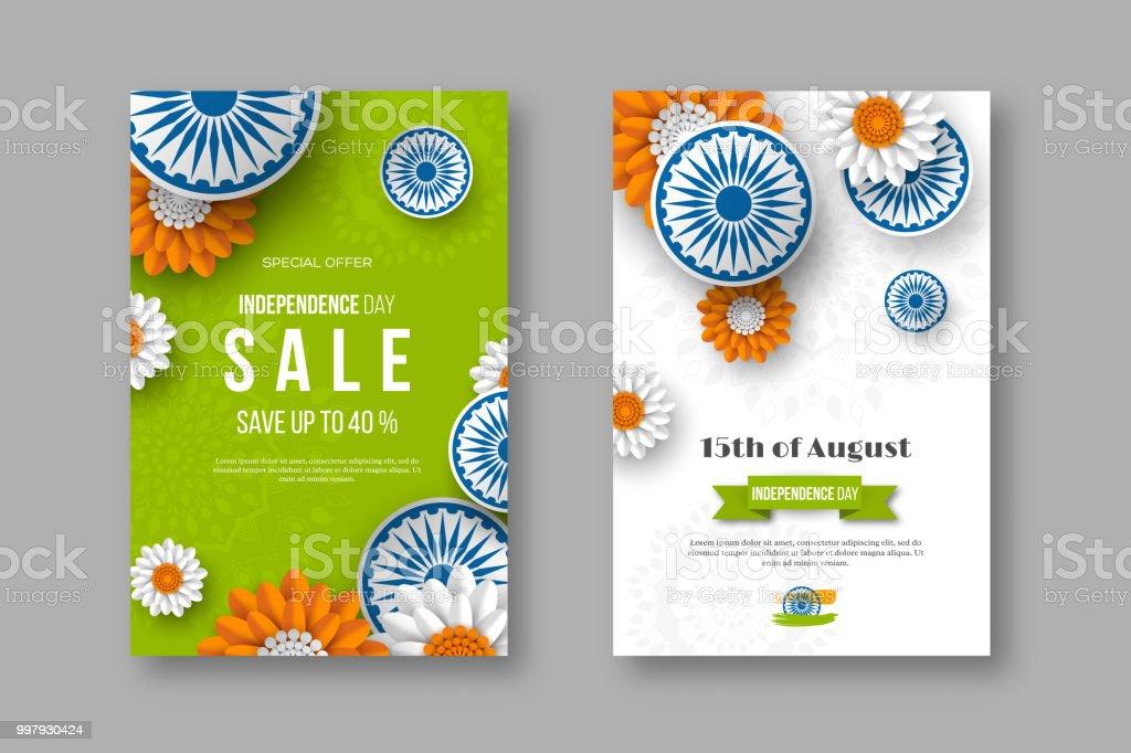 Hint bağımsızlık günü satış posterler. 3D araba Hint bayrağı geleneksel üç renkli çiçeklerle. Stil, vektör çizim kağıt kesme. vektör sanat illüstrasyonu