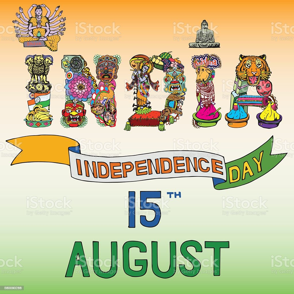 Indian Independence Day Theme National Symbols Of 15 August Stock