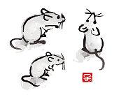 マウスおよびラットの図を描く墨ブラシ