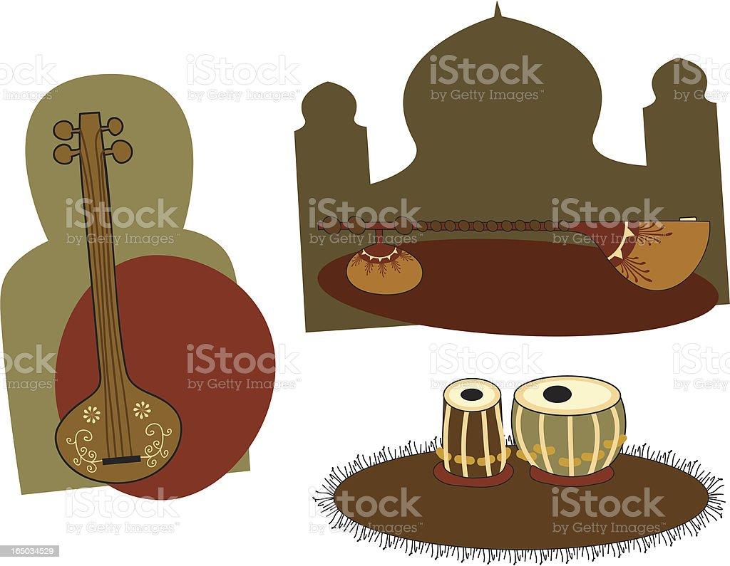 Indian Instruments (Vector) royalty-free stock vector art
