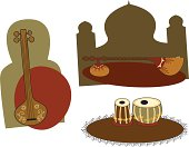 (L-R): North Indian tanpura (drone lute), sitar (solo lute), and set of tabla (tuned drums). Backgrounds can easily be removed. (Includes .jpg)