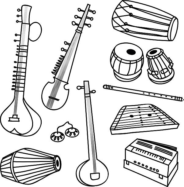 Indian instruments vector set of isolated traditional indian instruments tavla stock illustrations