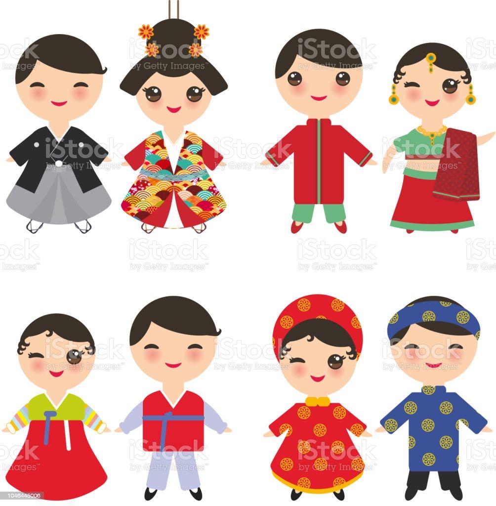 Indien Japonais Coreens Vietnamiens Kawaii Garcon Et Fille En
