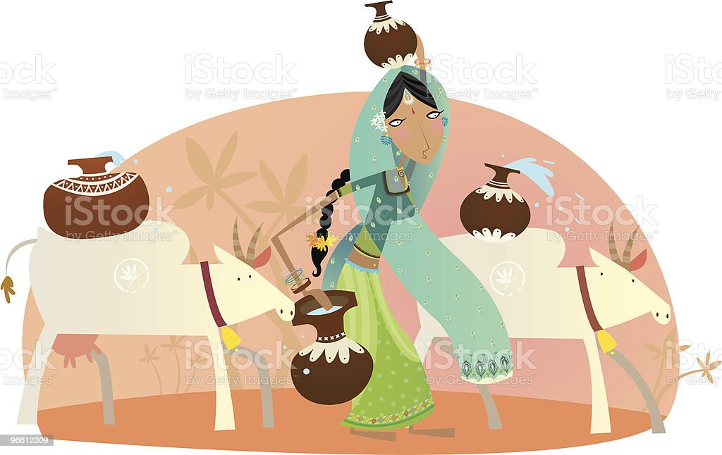 indian lady daily life royalty-free stock vector art