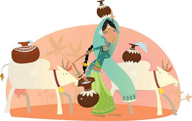 indian lady daily life vektorkonstillustration