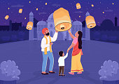 Indian lantern festival flat color vector illustration. Parent and child with light. Diwali celebration. Traditional Hindu holiday. Family 2D cartoon characters with nighttime cityscape on background