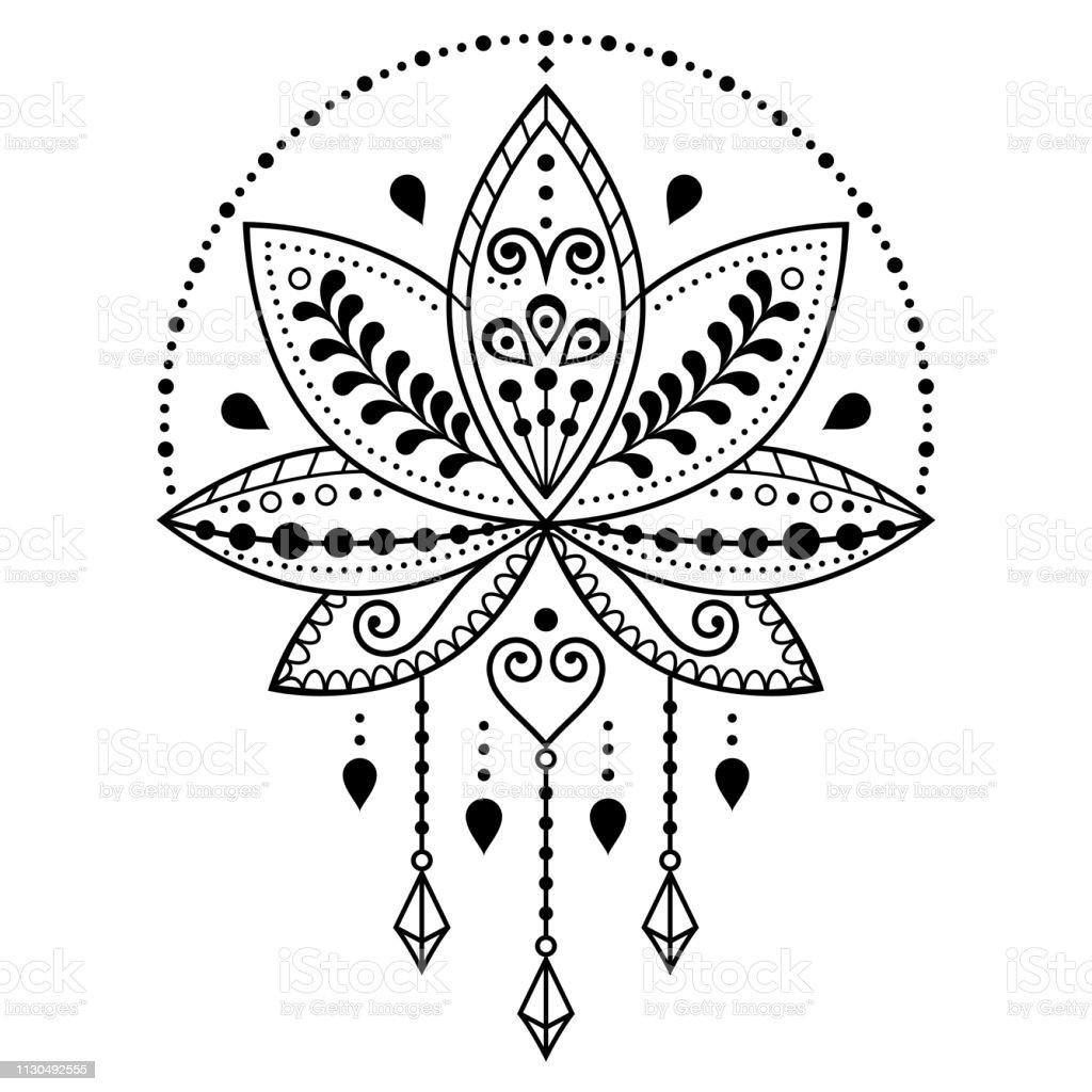 Indian Lotus Flower Vector Pattern Mehndi Henna Tattoo Style Yoga Or Zen Decoration Bohemian Greeting Card Stock Illustration Download Image Now