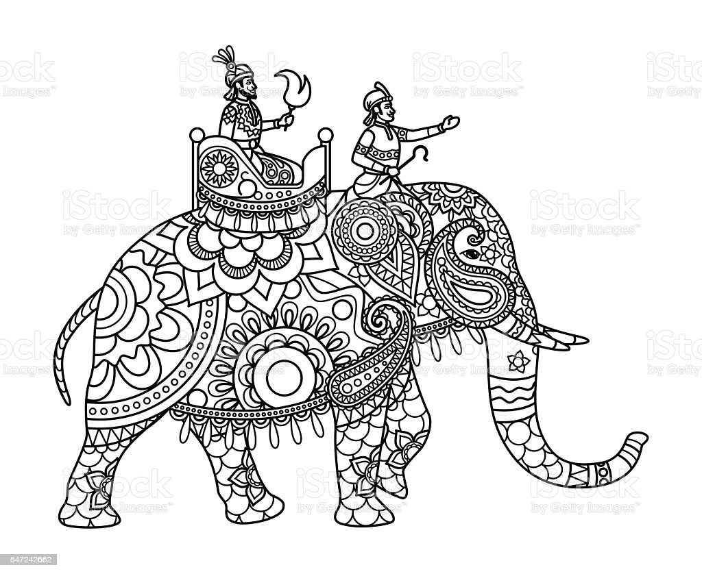 Indian maharajah on elephant coloring pages stock vector for Indian elephant coloring pages printable