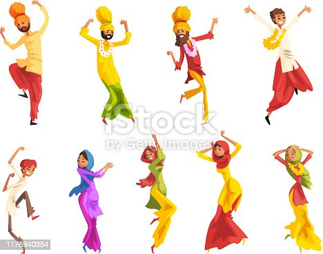 Indian man and woman in traditional clothes dancing folk dance set vector Illustrations isolated on a white background.