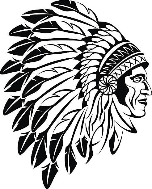 indian man head - kopfschmuck stock-grafiken, -clipart, -cartoons und -symbole