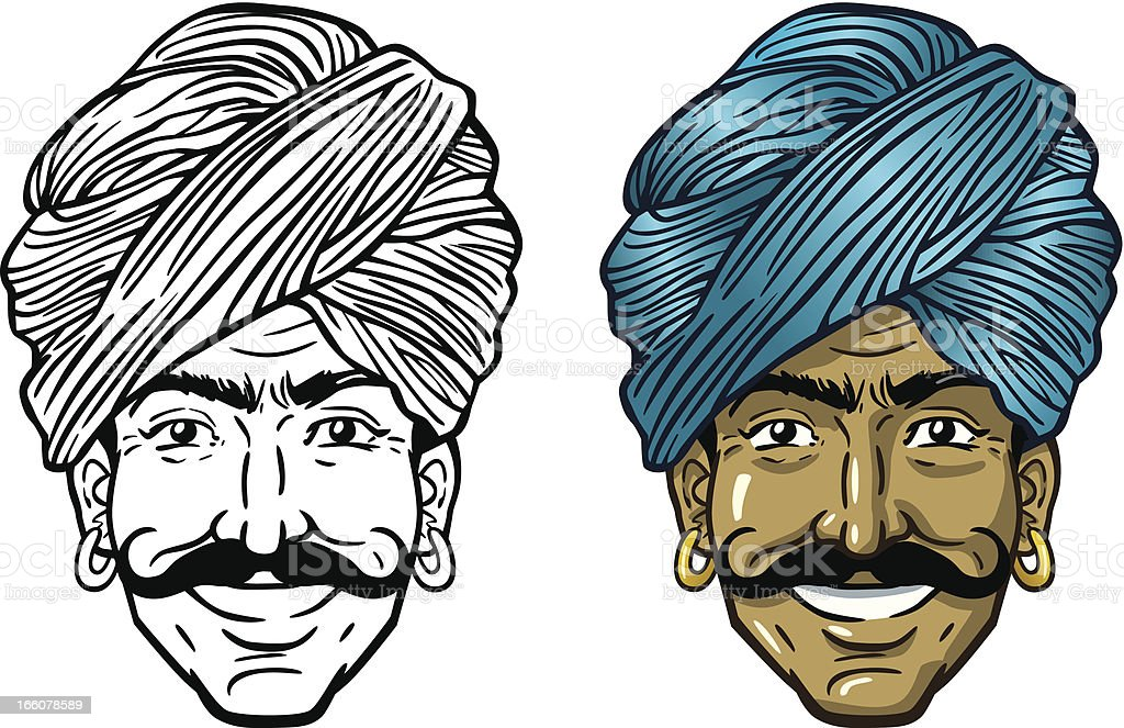 Indian Man In Turban vector art illustration