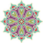 vector illustration of traditional indian orient element-colored ornamental mandala