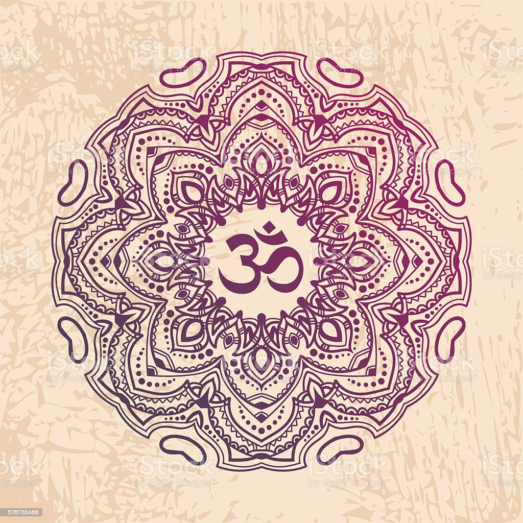 Indian Mandala With The Om Symbol In The Centre Stock Vector Art
