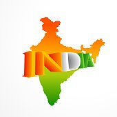 indian map in tricolor vector design illustration