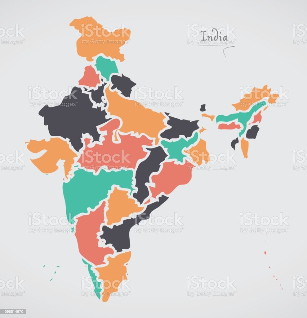 Indian Map with regions and modern round shapes vector art illustration