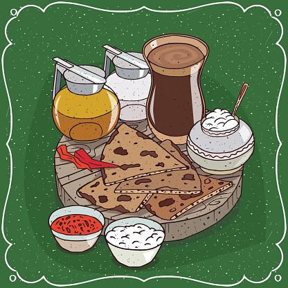 Indian masala chai tea and jug honey and milk