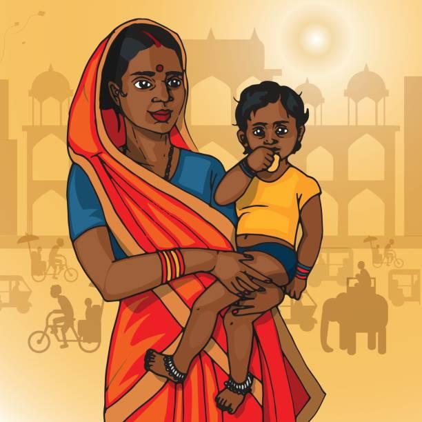 Madre India sostener el bebé - ilustración de arte vectorial