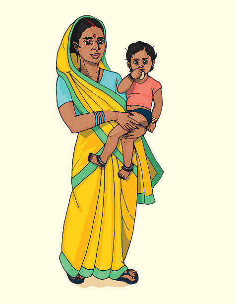 Indian mother with baby Indian mother in saree carry little cute baby indian family stock illustrations