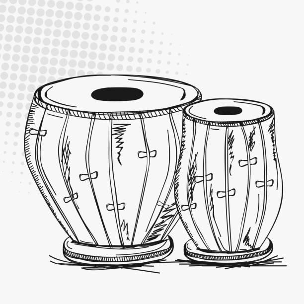 Indian musical instrument tabla. Indian traditional musical instrument tabla (drums) on vintage abstract background. tavla stock illustrations