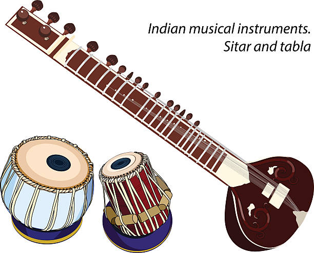 Indian musical instruments - sitar and tabla indian musical instruments - sitar and tabla. Vector isolated objects tavla stock illustrations