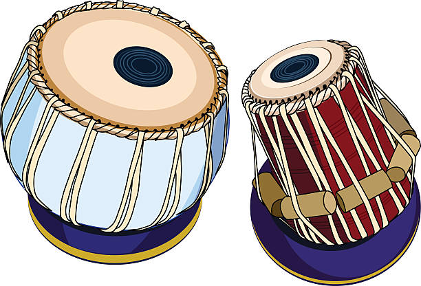 Indian musical instruments - Tabla vector indian musical instruments - ethnic drum Tabla. Isolated object on a white background tavla stock illustrations