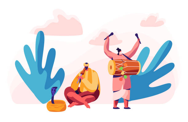 Indian Musician Playing Drum Dhol and Flute in Asian Festival. Man Hypnotize Cobra Snake in Basket. Musical Instrument Concert in Asia. Exotic Festive Show. Flat Cartoon Vector Illustration Indian Musician Playing Drum Dhol and Flute in Asian Festival. Man Hypnotize Cobra Snake in Basket. Musical Instrument Concert in Asia. Exotic Festive Show. Flat Cartoon Vector Illustration tavla stock illustrations