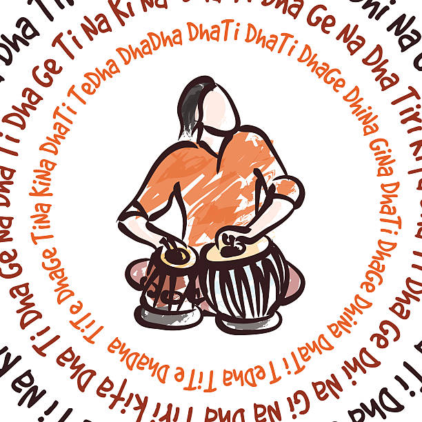 Indian musician playing tabla vector silhouette of indian musician playing tabla tavla stock illustrations