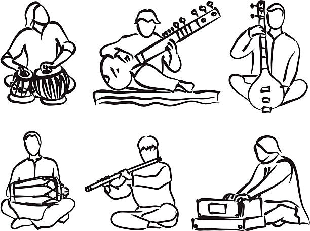 Indian musician set vector silhouette set of indian musician playing traditional musical instruments tavla stock illustrations