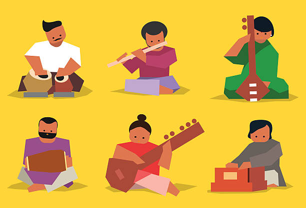 Indian musician set Indian musician playing traditional musical instruments. Vector isolated set tavla stock illustrations