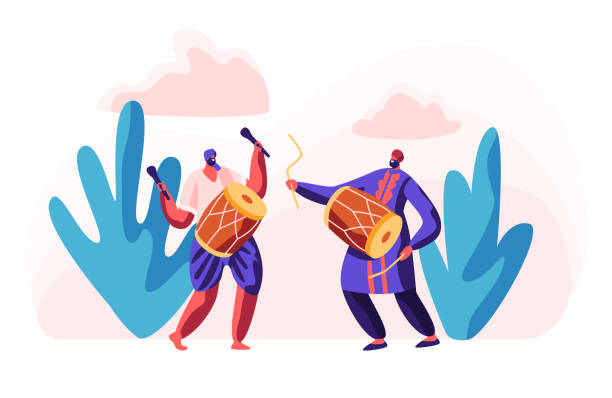 Indian Musicians Playing Classical Music at Ethnic Festival. Asian Man with Dhol at Cultural Celebration. Musical Instrumental Entertainment in India. Drum Instrument. Flat Cartoon Vector Illustration Indian Musicians Playing Classical Music at Ethnic Festival. Asian Man with Dhol at Cultural Celebration. Musical Instrumental Entertainment in India. Drum Instrument. Flat Cartoon Vector Illustration tavla stock illustrations