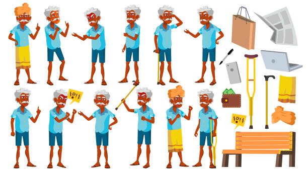 indian old man poses set vector. elderly people. hindu. asian. senior person. aged. cheerful grandparent. presentation, invitation, card design. isolated cartoon illustration - old man crying clip art stock illustrations, clip art, cartoons, & icons