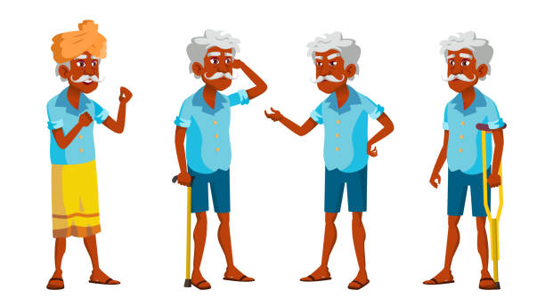 indian old man poses set vector. elderly people. senior person. aged. friendly grandparent. hindu. asian. banner, flyer, brochure design. isolated cartoon illustration - old man standing drawings stock illustrations, clip art, cartoons, & icons