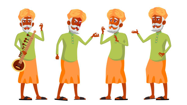 indian old man poses set vector. hindu. asian. elderly people. senior person. aged. lifestyle. postcard, cover, placard design. isolated cartoon illustration - old man portrait clip art stock illustrations, clip art, cartoons, & icons