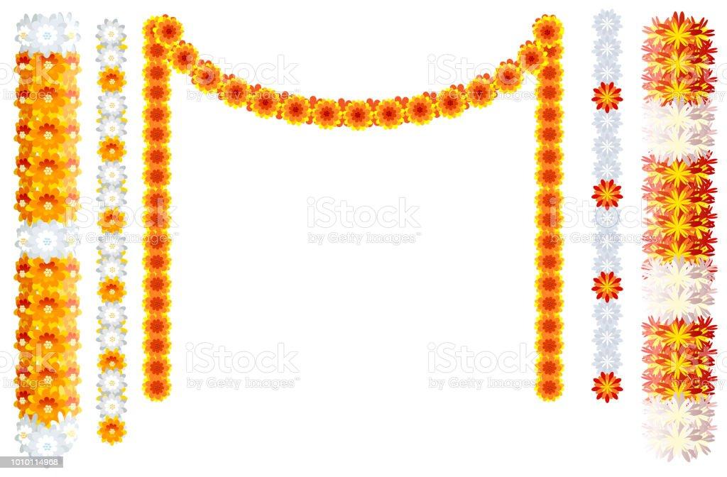 Indian Orange Flower Garland Mala Frame Isolated On White ...