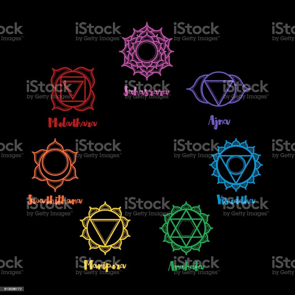 Indian ornamental 7 chakra icons set. Chakras used in Hinduism, Buddhism and Ayurveda. Vector Sahasrara, Ajna, Vissudha, Anahata, Manipura, Svadhisthana, Muladhara. Color yoga chakra mandalas vector art illustration
