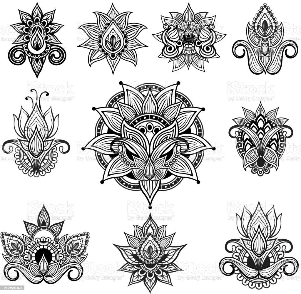 Indian ornamental flowers vector art illustration