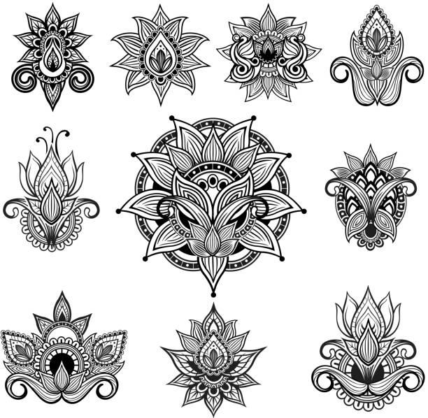 インドの花の装飾 ベクターアートイラスト
