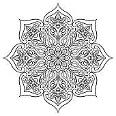 Indian ornamental mandala. Ethnic folk ornament. Hand drawn pattern.
