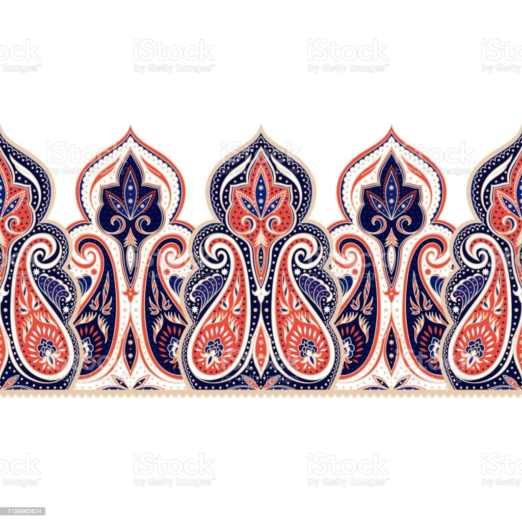 Indian Paisley Pattern Vector Border Seamless Damask Flower